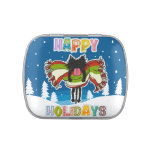 Black kitten and Colorful Happy Holidays Jelly Belly Tins