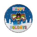 Black kitten and Colorful Happy Holidays Jelly Belly Tin