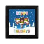 Black kitten and Colorful Happy Holidays Keepsake Boxes