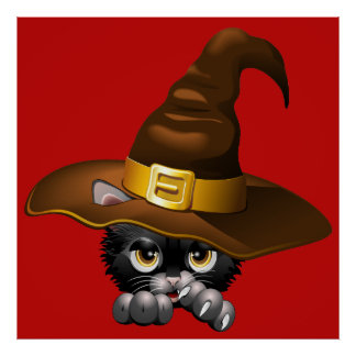 Black Kitten Cartoon With Witch Hat posters