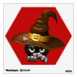 Black Kitten Cartoon With Witch Hat Wall Decal