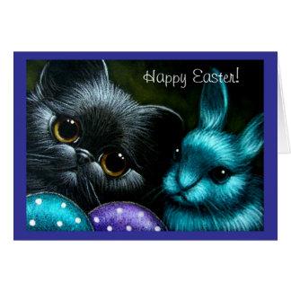 Black Kitten Cat & Easter Bunny Card