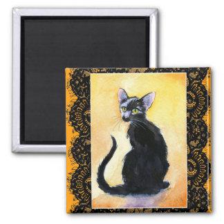 Black kitten cat, lace, orange magnet