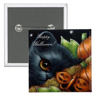 BLACK KITTEN CAT & PUMPKIN BUTTERFLY HALLOWEEN But 2 Inch Square Button