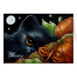 BLACK KITTEN CAT PUMPKIN BUTTERFLY HALLOWEEN Card