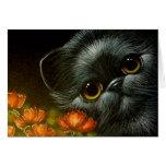 BLACK KITTEN CAT with POPPY FLOWERS CUSTOMIZE Card