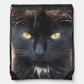 Black kitten Drawstring Backpack