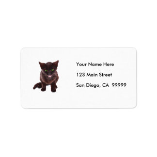 Black Kitten, Green Eyes, Pink Tongue Custom Address Label