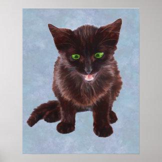 Black Kitten, Green Eyes, Pink Tongue Posters