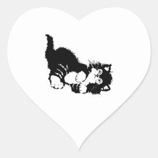 Black Kitten Heart Sticker