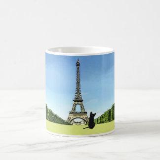 Black Kitten in front of Eiffel Tower Mug