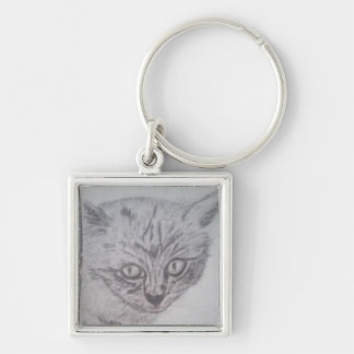 Black Kitten keyring Silver-Colored Square Keychain