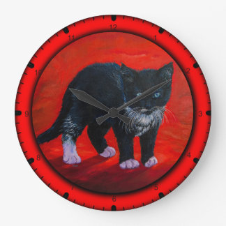 Black kitten large clock
