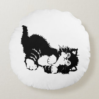 Black Kitten Round Pillow