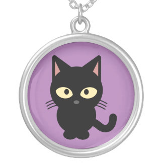 Black Kitten Silver Plated Necklace