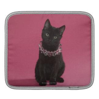 Black kitten wearing jeweled necklace iPad sleeve