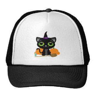 Black Kitten Witch Trucker Hat