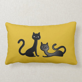 Black Kittens Cartoon II Lumbar Pillow