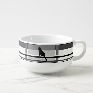 Black Kitties Gray Plaid Soup Mug