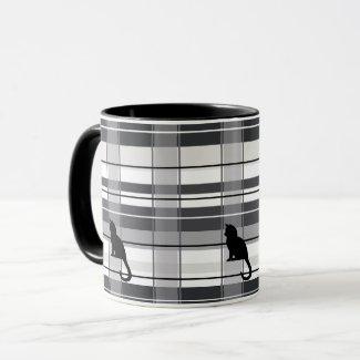 Black Kitties on Plaid Ceramic Mug