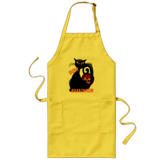Black Kitty and Evil Halloween Pumpkin Aprons