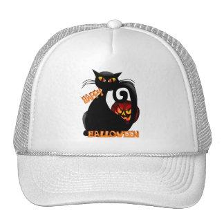 Black Kitty and Evil Halloween Pumpkin Hats