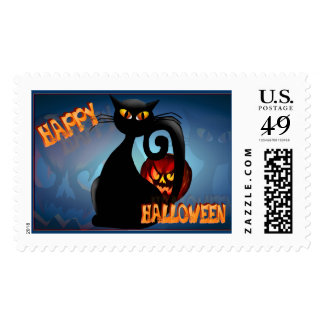 Black Kitty and Evil Halloween Pumpkin-Postage Postage