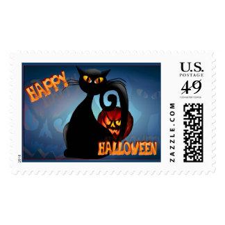 Black Kitty and Evil Halloween Pumpkin-Postage Postage Stamp