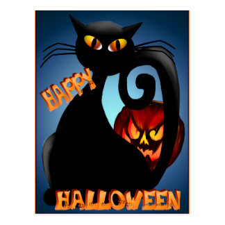 Black Kitty and Evil Halloween Pumpkin  Postcard