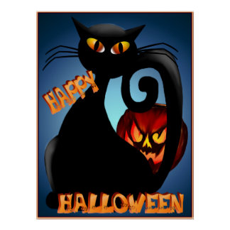 Black Kitty and Evil Halloween Pumpkin Poster