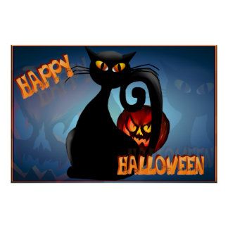 Black Kitty and Evil Halloween Pumpkin Posters