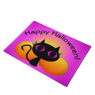 Halloween Themed Black Kitty and Pumpkins on Pink Doormat