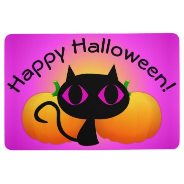 Halloween Themed Black Kitty and Pumpkins on Pink Floor Mat
