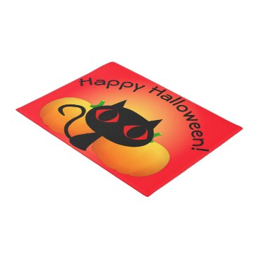 Halloween Themed Black Kitty and Pumpkins on Red Doormat
