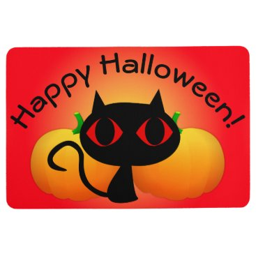 Halloween Themed Black Kitty and Pumpkins on Red Floor Mat