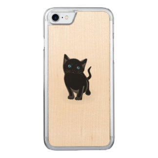 Black kitty cartoon carved iPhone 7 case