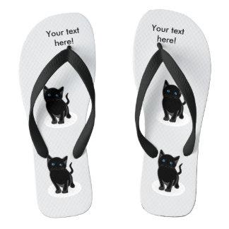 Black kitty cartoon flip flops