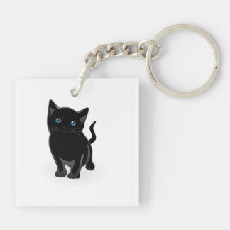 Black kitty cartoon keychain