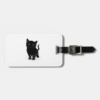 Black kitty cartoon tag for luggage