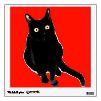 Black Kitty Cat Adorable Wall Decal Art