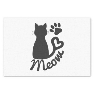 """Black Kitty Cat and """"Meow"""" Paw Print 10"""" X 15"""" Tissue Paper"""