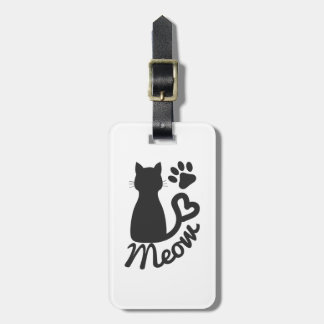 """Black Kitty Cat and """"Meow"""" Paw Print Bag Tag"""