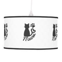 """Black Kitty Cat and """"Meow"""" Paw Print Ceiling Lamp"""