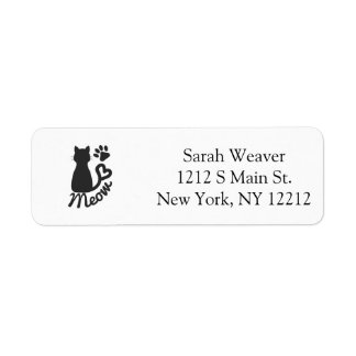 """Black Kitty Cat and """"Meow"""" Paw Print Label"""