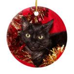 Black kitty cat Christmas Ceramic Ornament