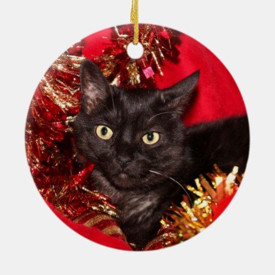 Christmas Tree Made Of Black Cats: Black Kitty Cat Christmas Ceramic Ornament