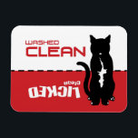 "Black Kitty Cat Dishwasher Magnet - Licked Clean<br><div class=""desc"">If Bella were a cat...  A feline version of my popular Bella Dishwasher magnet... </div>"