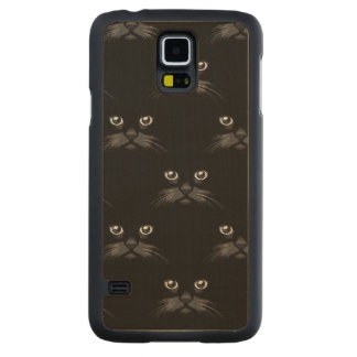 Black Kitty Cat Face Carved® Maple Galaxy S5 Case