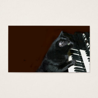 Black kitty cat play the organ business card