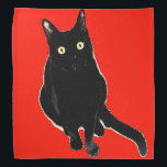 "Black Kitty Cat Red Bandana<br><div class=""desc"">Bandana</div>"